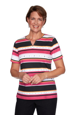 Image: Petite Women's Multistriped Short Sleeve Knit Top