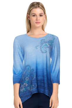 Image: Petite Women's Ombre Paisley Embroidered Crew Neck Top