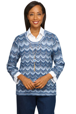 Image: Petite Women's Ombre Zig Zag Sweater With Woven Details