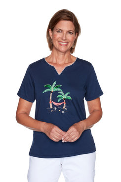 Image: Petite Women's Palm Tree Embroidered Short Sleeve Top
