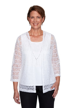 Image: Petite Women's Popcorn Knit Two-For-One Top With Necklace