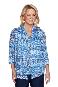 Image: Petite Women's Print Two-For-One Top With Necklace