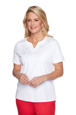Image: Petite Women's Rope Embroidered Short Sleeve Top
