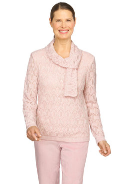 Image: Petite Women's Scarf Pointelle With Pearls Lightweight Sweater