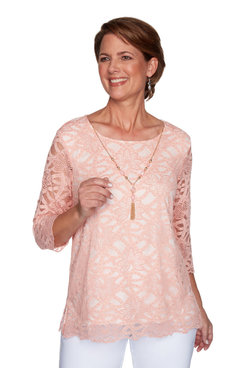 Image: Petite Women's Solid Lace Body-Lined Top With Necklace