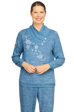 Image: Petite Women's Split Button Cowl Neck Embroidered Pullover