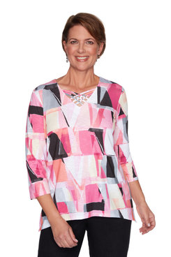 Image: Petite Women's Stained Glass Knit Top