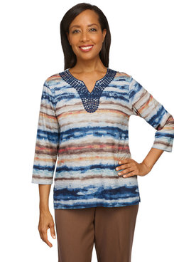 Image: Petite Women's Stripe Knit Top With Lace Neck