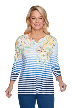 Image: Petite Women's Striped Floral Top With Embellished Neckline