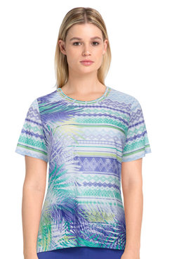 Image: Petite Women's Striped Leaf Print Short Sleeve Soft Knit Top