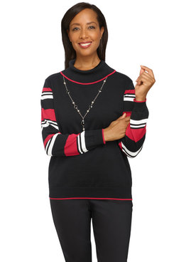 Image: Petite Women's Striped Sleeve Sweater With Necklace