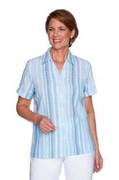 Image: Petite Women's Striped Textured Button-Down Shirt