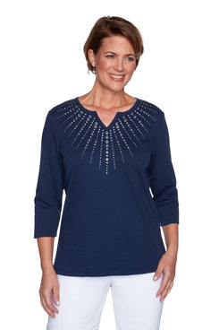 Image: Petite Women's Sunburst Sparkly Embellished Knit Top