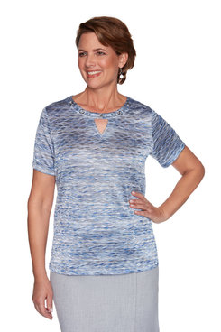 Image: Petite Women's Textured Short Sleeve Knit Top