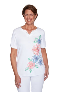 Image: Petite Women's Tropical Floral Embroidered Short Sleeve Top