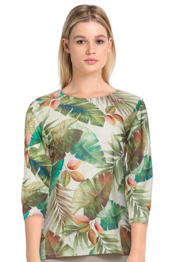 Image: Petite Women's Tropical Leaf Soft Knit Crew Neck Top