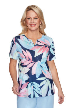 Image: Petite Women's Tropical Leaves Print Short Sleeve Top