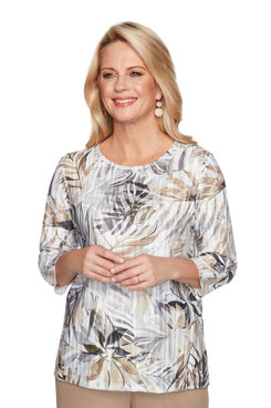 Image: Petite Women's Tropical Leaves Print Textured Top