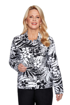 Image: Petite Women's Tropical Print Jacket