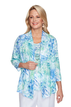 Image: Petite Women's Tropical Print Two-For-One Top With Necklace