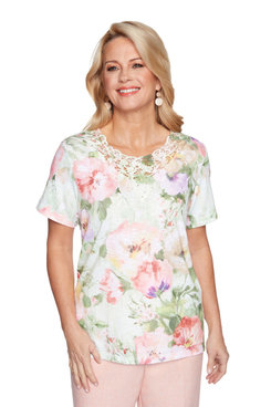 Image: Petite Women's Watercolor Floral Short Sleeve Top