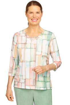 Image: Petite Women's Watercolor Stained Glass Print Knit Top