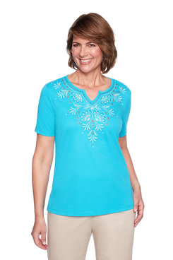 Image: Petite Yoke Scroll Embroidery Top