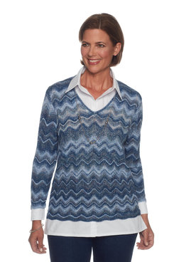 Image: Petite Zig Zag Two For One Sweater