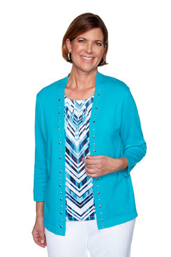 Image: Petite Zigzag Two-For-One Sweater
