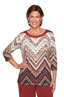 Image: Plus Animal Print Chevron Top