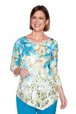 Image: Plus Animal Print Floral Yoke Top