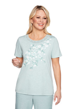 Image: Plus Applique Floral Yoke Top