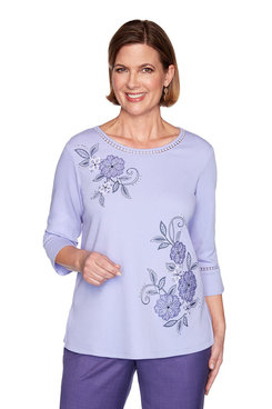 Image: Plus Applique Flowers Bell Sleeve Top