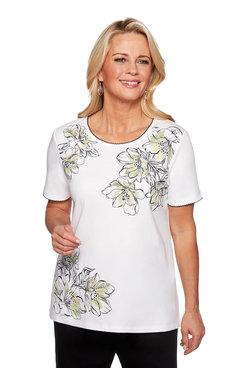 Image: Plus Asymmetrical Floral Embroidered Top