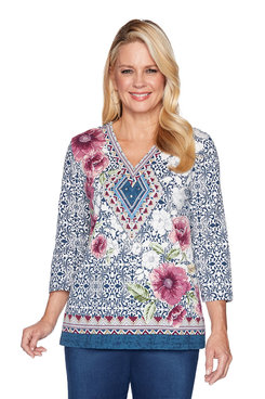 Image: Plus Batik Yoke Floral Top