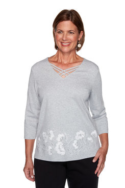 Image: Plus Border Floral Embroidery Top