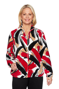 Image: Plus Brushstroke Polar Fleece Jacket