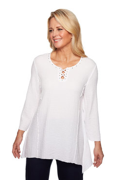 Image: Plus Bubble Gauze Tunic Top