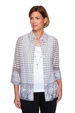 Image: Plus Burnout Border Floral Two-for-One Top