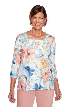 Image: Plus Butterfly Floral Top