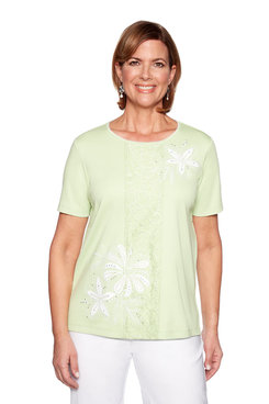 Image: Plus Center Applique Lace Top
