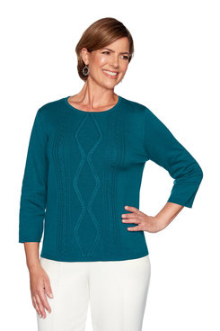 Image: Plus Center Braid Applique Sweater