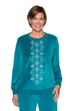 Image: Plus Center Diamond Embroidery Pullover