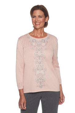 Image: Plus Center Embroidered Sweater