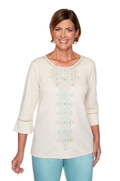 Image: Plus Center Embroidery Top