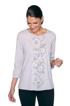 Image: Plus Center Floral Embroidered Top