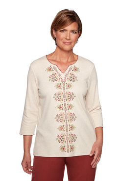 Image: Plus Center Scroll Embroidery Top