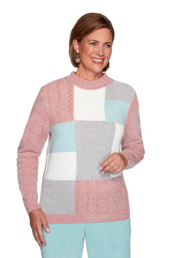 Image: Plus Chenille Colorblock Sweater