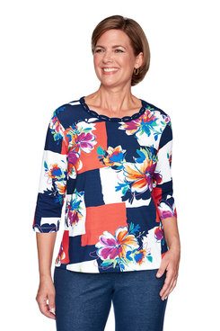 Image: Plus Colorblock Floral Top