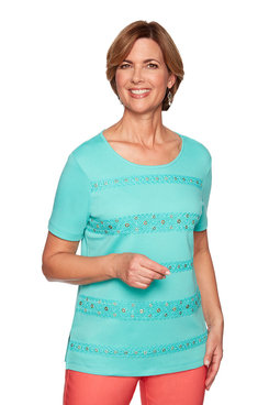 Image: Plus Crochet Lace Trim Biadere Top